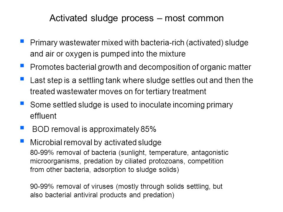 Activated sludge process – most common