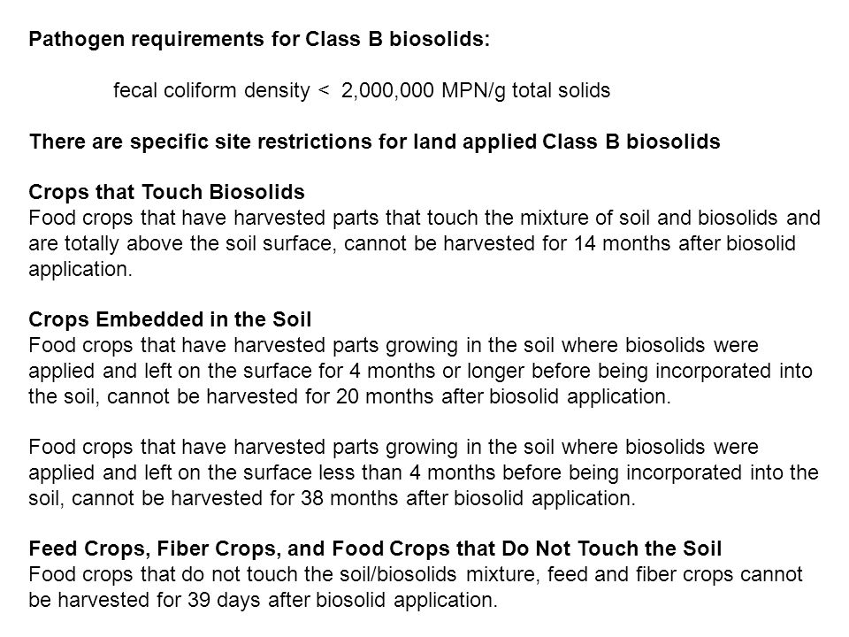 Pathogen requirements for Class B biosolids: