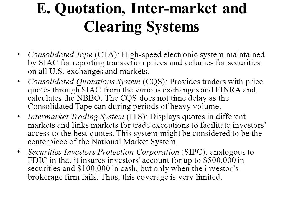 E. Quotation, Inter-market and Clearing Systems