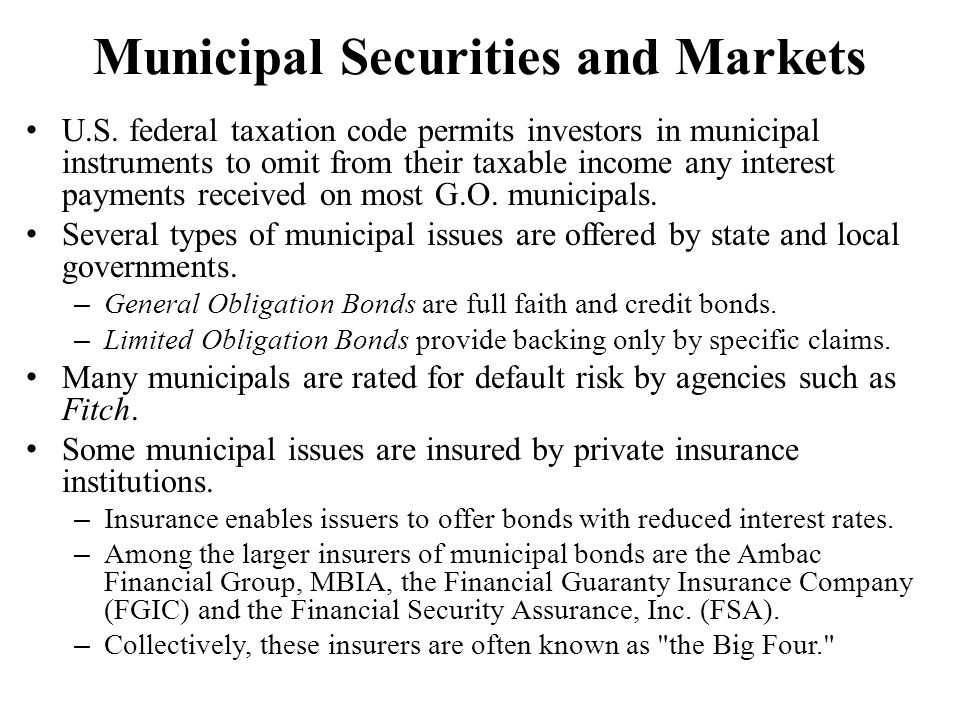 Municipal Securities and Markets