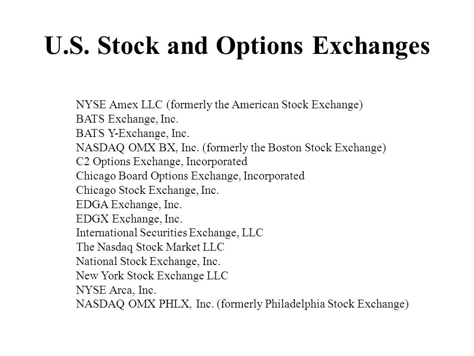 U.S. Stock and Options Exchanges