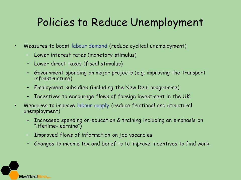 government policies for reducing equilibrium unemployment economics essay Policies to reduce unemployment from its current levels are needed to  broad  groups: general economic policies, labour polices and welfare policies  the  primary objective of the government's fiscal strategy is to maintain budget  balance,.