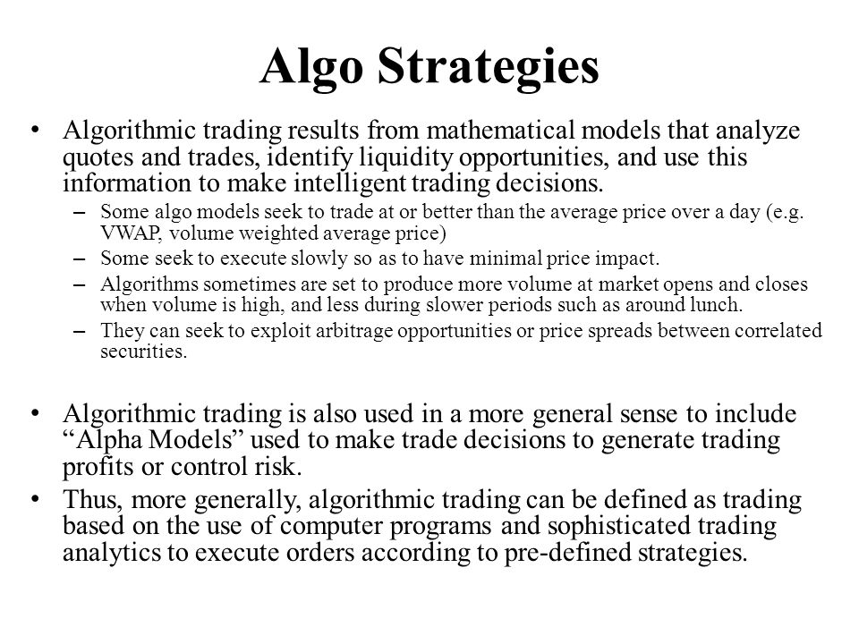 Introduction to Algorithmic Trading