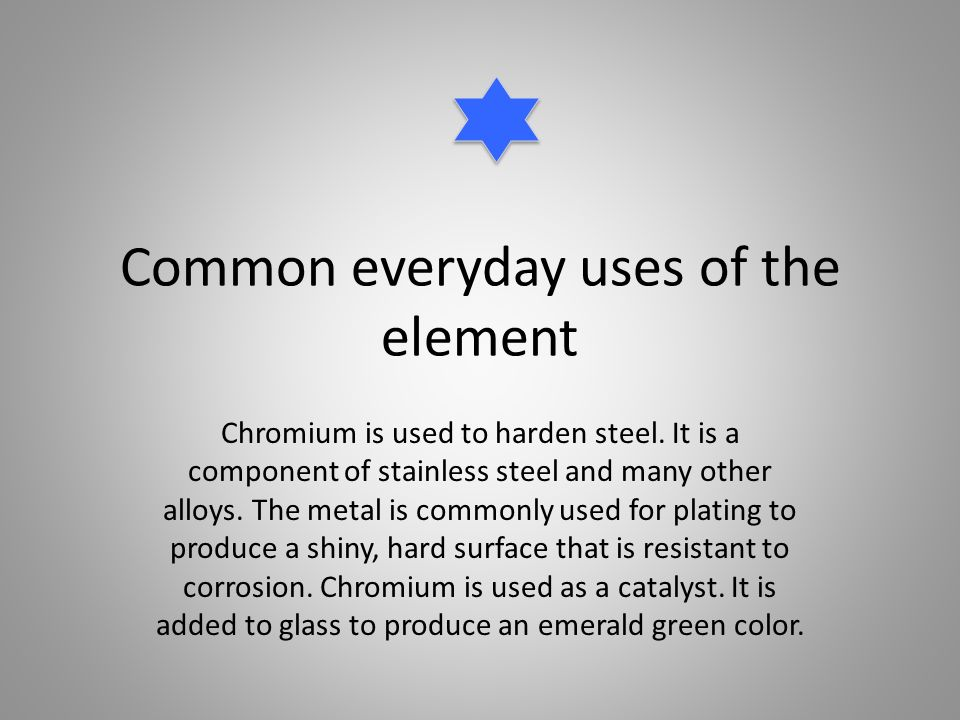 Element project chromium ppt download for Everyday uses of tin