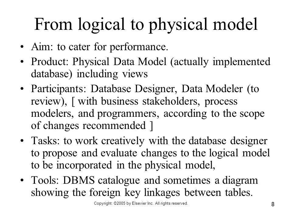 From logical to physical model