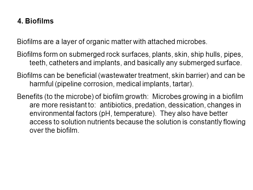 4. BiofilmsBiofilms are a layer of organic matter with attached microbes.