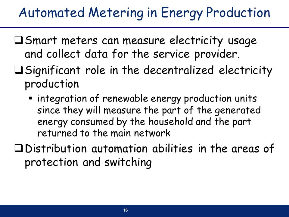 Automated Metering in Energy Production