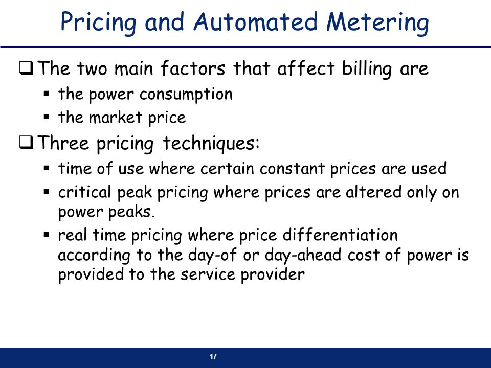 Pricing and Automated Metering
