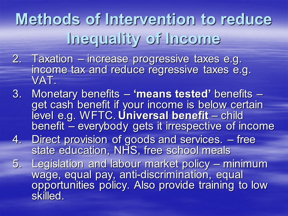 government intervention on income inequality