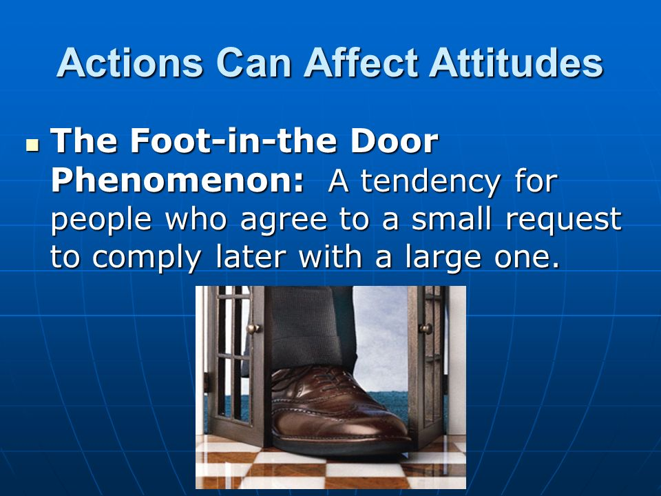 the foot in the door phenomenon essay Door in the face technique is a contrast of foot in the door technique in this technique buy an essay on door in the face technique online.