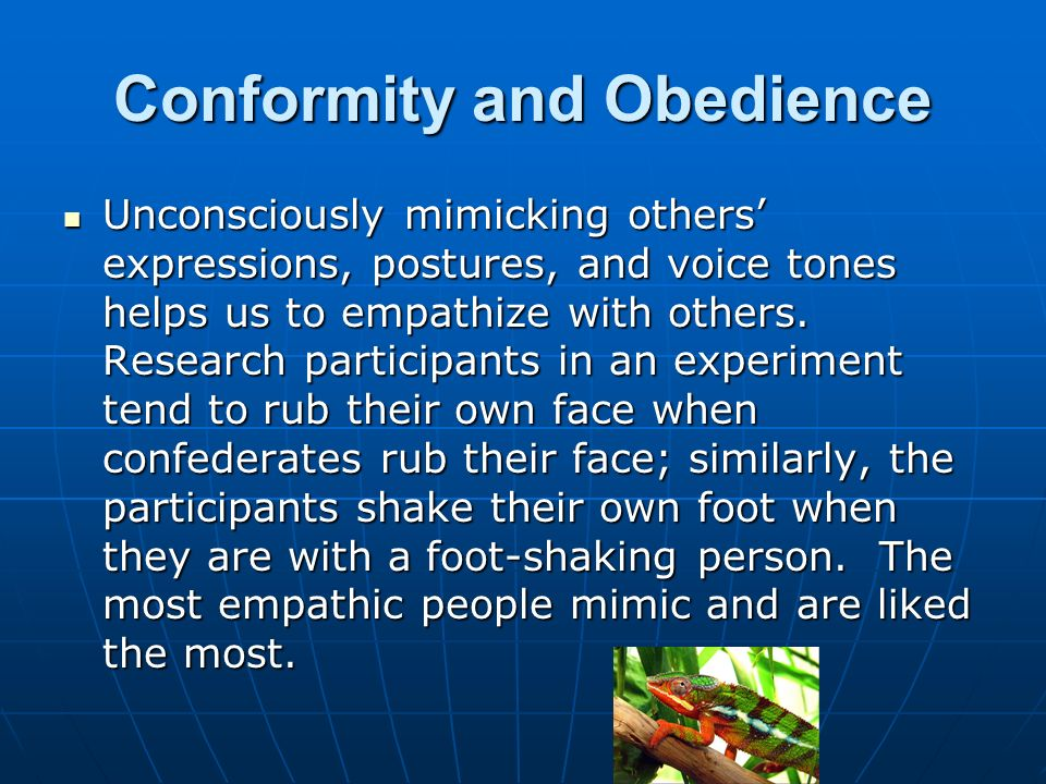 social conformity obedience Conformity influences formation and maintenance of social norms, and helps societies function smoothly and predictably via the self-elimination of behaviors seen as contrary to unwritten rules in this sense it can be perceived as a positive force that prevents acts that are perceptually disruptive or dangerous.