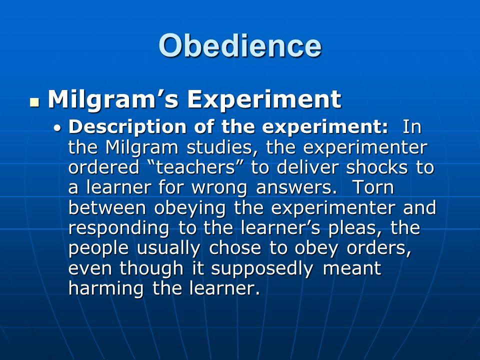 milgrams obedience study