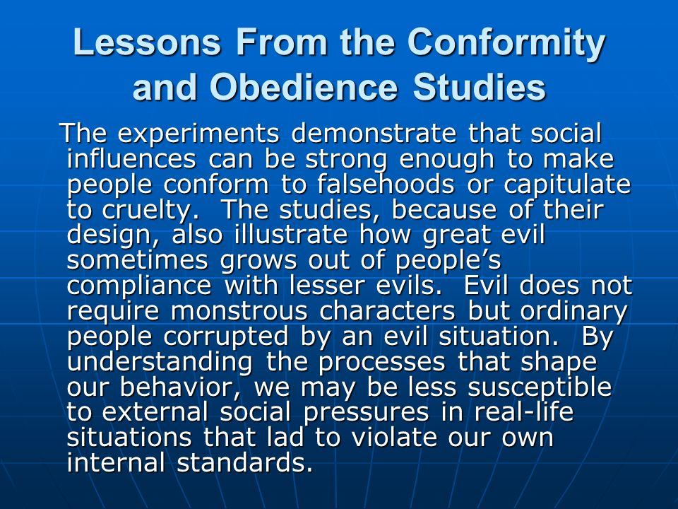 conformity compliance and obedience and their