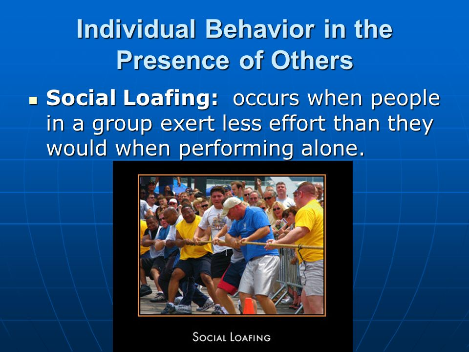 behaviour of individuals in a group education essay Theories and models of behaviour and behaviour change itself, or relationships between behaviour, individuals and the social and physical.