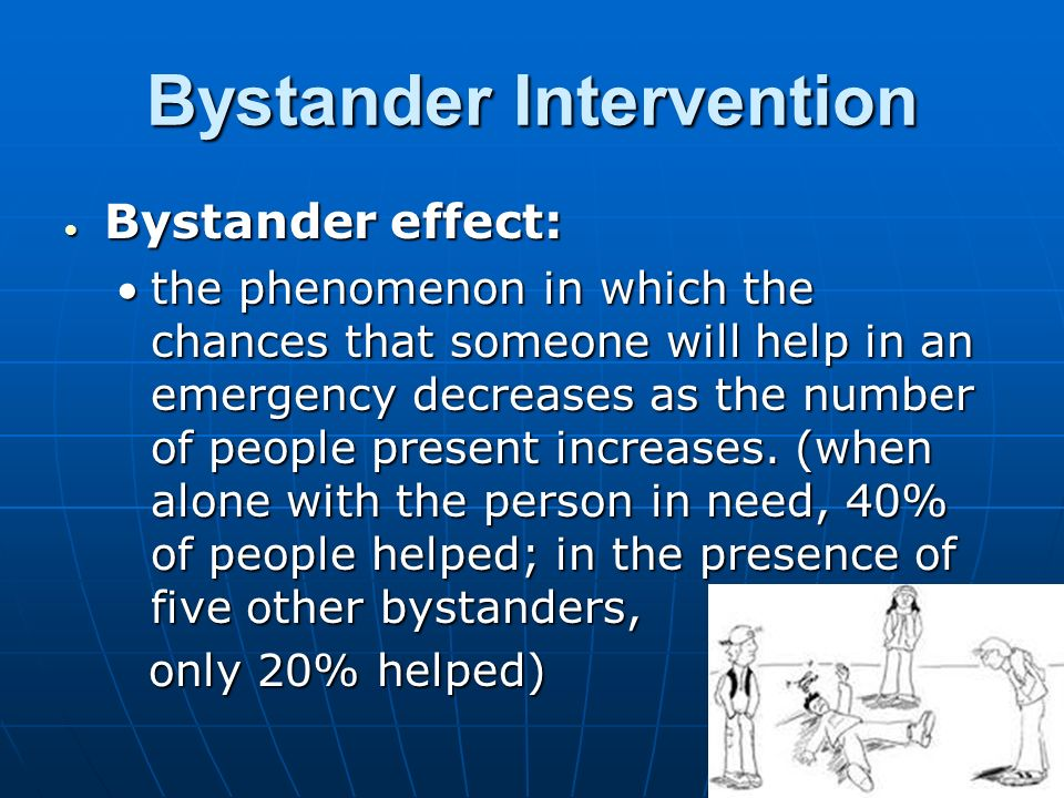 bystander intervention in emergencies diffusion of responsibility 1 to help or not to help darley, j m, & latane, b (1968) bystander intervention in emergencies: diffusion of responsibility journal of personality and social psychology, 8, 377-383.