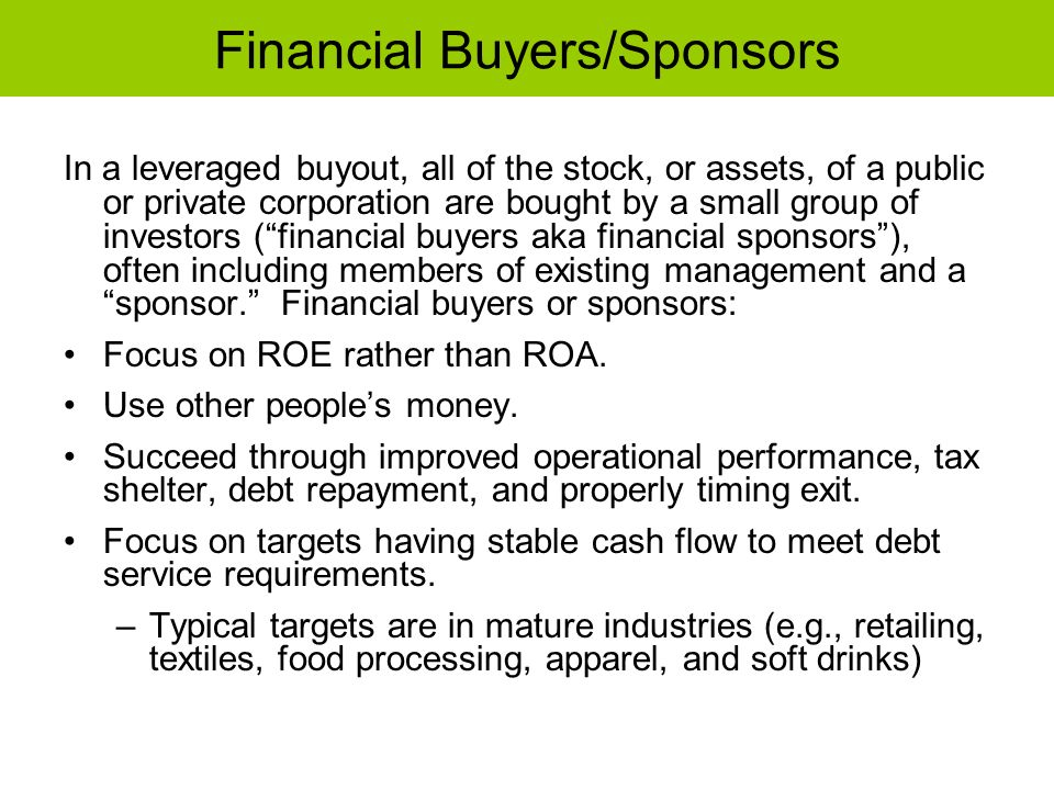 Financial Buyers/Sponsors