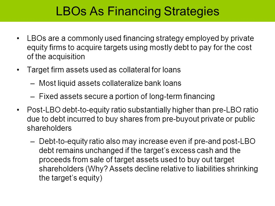 LBOs As Financing Strategies