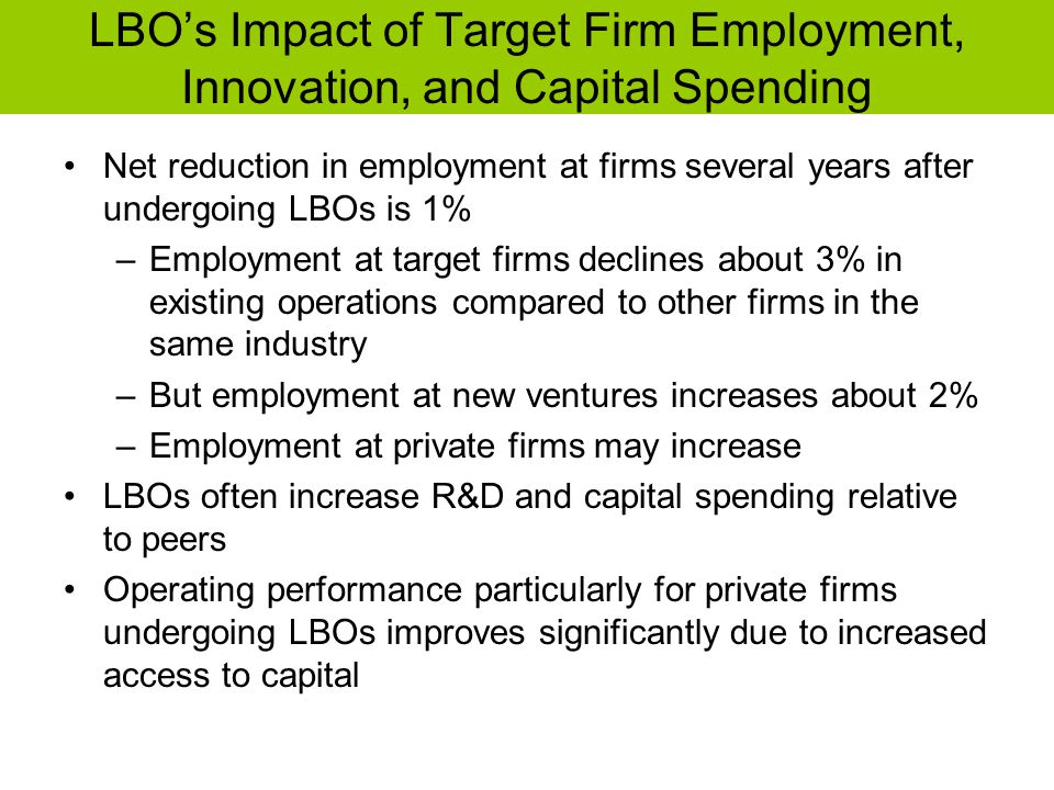 LBO's Impact of Target Firm Employment, Innovation, and Capital Spending