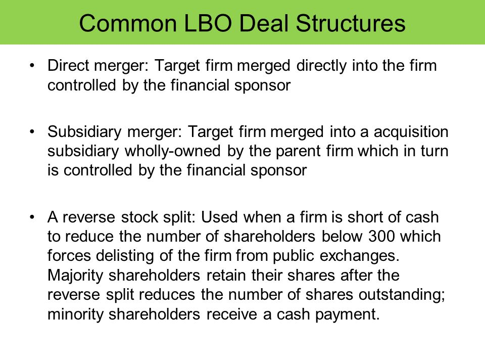 Common LBO Deal Structures