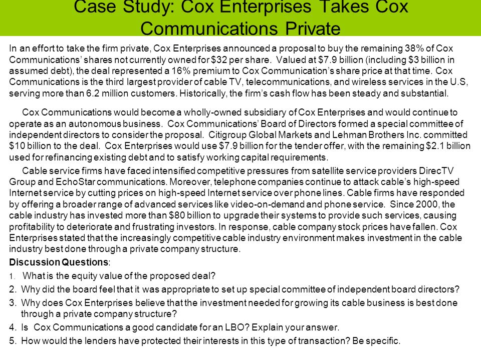 Case Study: Cox Enterprises Takes Cox Communications Private