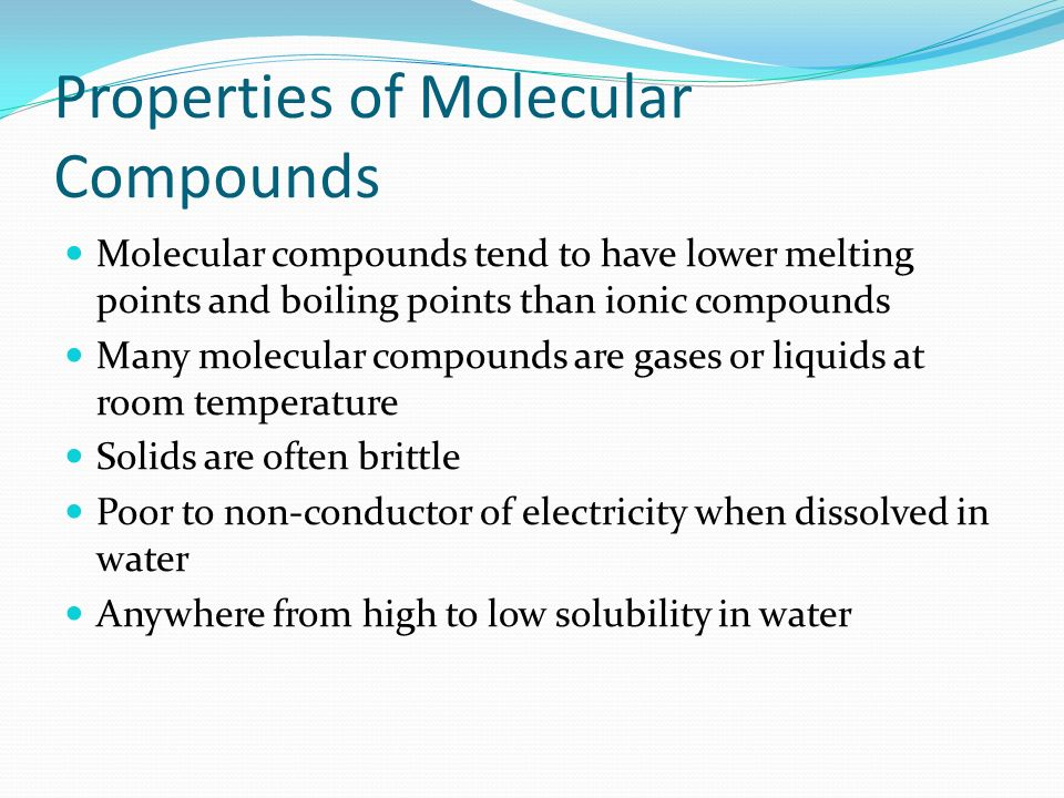 Covalent Compounds Are What At Room Temperature