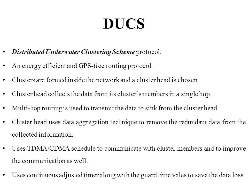 DUCS Distributed Underwater Clustering Scheme protocol.