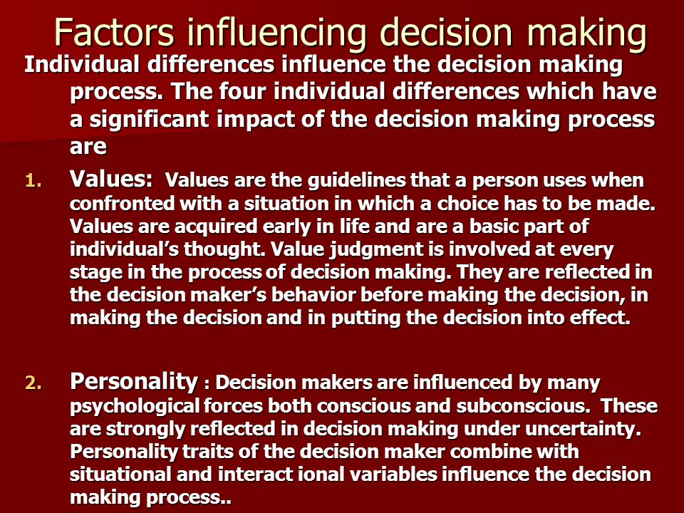decision making process and factors affecting it There are 6 steps in consumer decision making factors affecting the decision making process for consumers are demographic, social, and psychological the consumer decision making process is the way in which people gather and assess information and make choices among alternative goods, services, organizations.