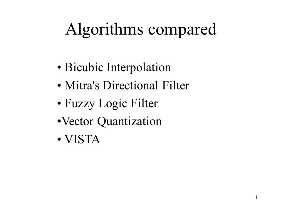 Algorithms compared Bicubic Interpolation Mitra s Directional Filter