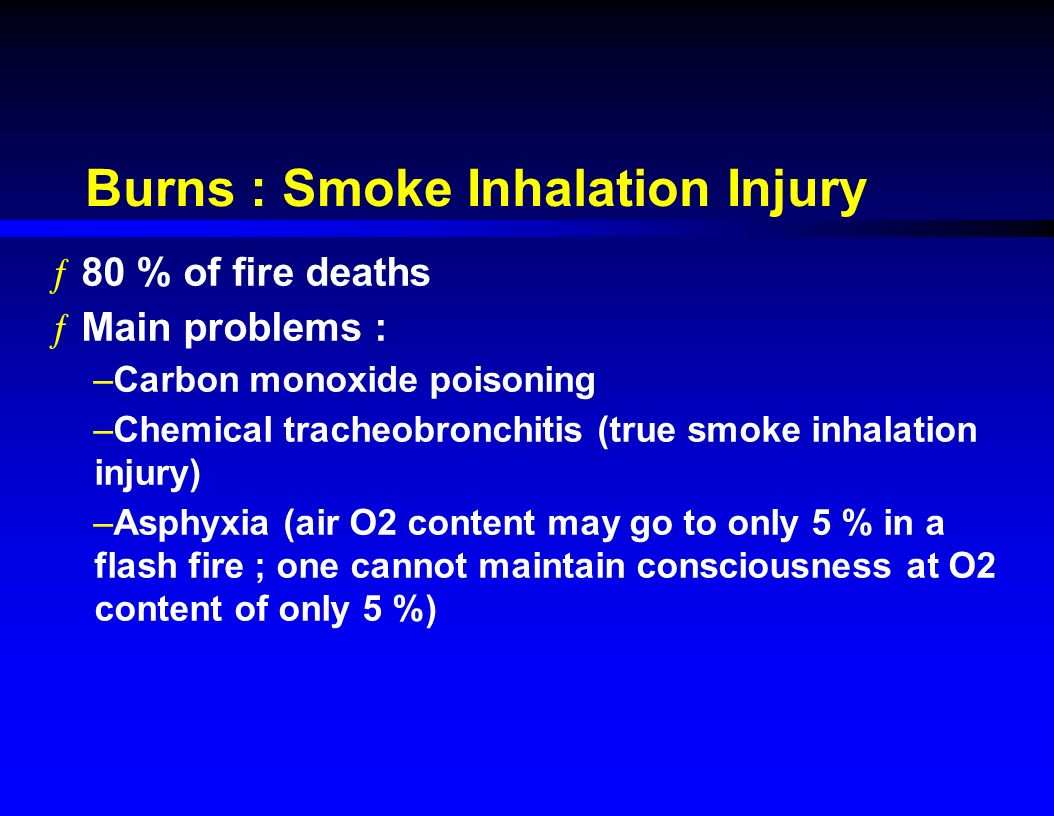 smoke inhalation causes Smoke inhalation is the leading cause of death related to fires it damages the  body as a result of lack of oxygen and chemical irritation.