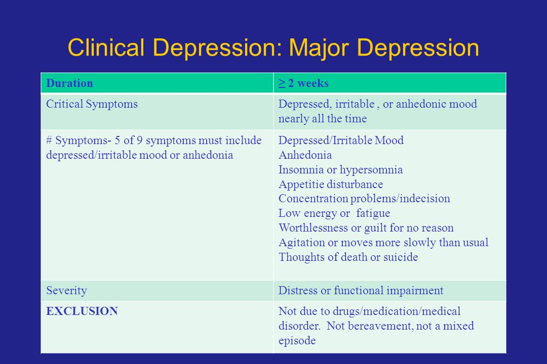 treatment for depression a critical evaluation The depression evaluation service (des) is an outpatient research and  treatment clinic that conducts studies of the cause and treatment of depression.