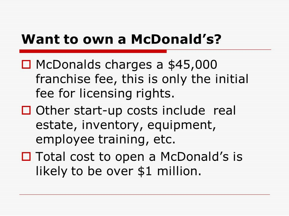Want to own a McDonald's
