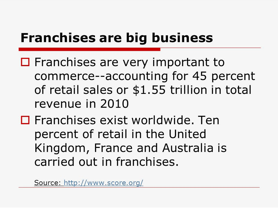 Franchises are big business