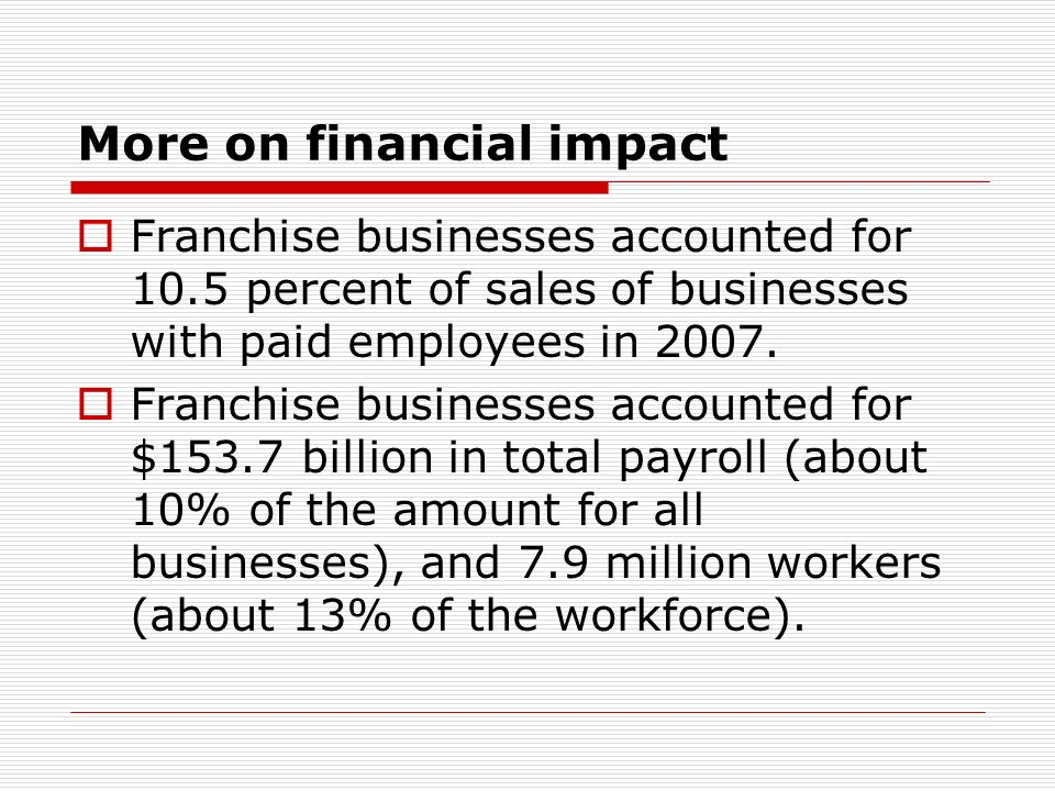 More on financial impact
