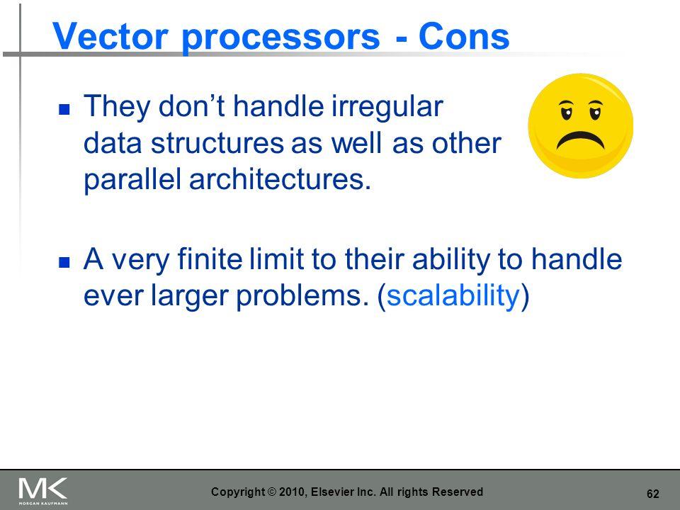 Vector processors - Cons
