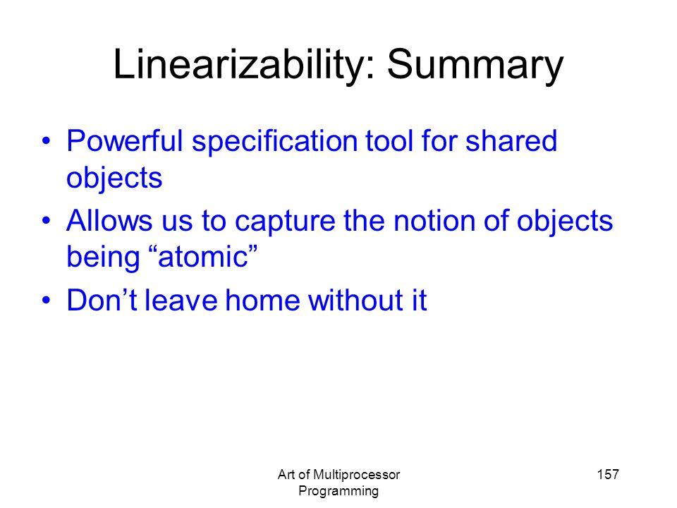 Linearizability: Summary