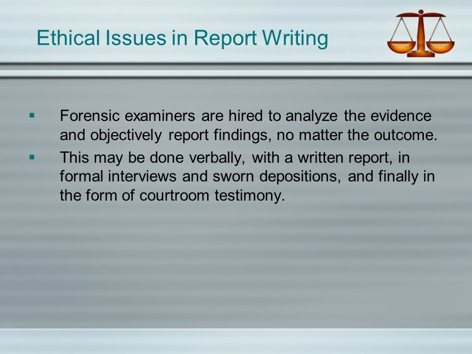 Ethical Issues in Report Writing