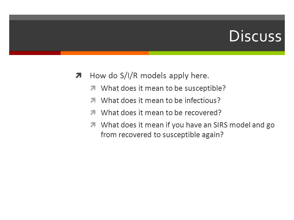 Discuss How do S/I/R models apply here.