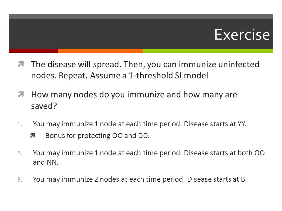 Exercise The disease will spread. Then, you can immunize uninfected nodes. Repeat. Assume a 1-threshold SI model.