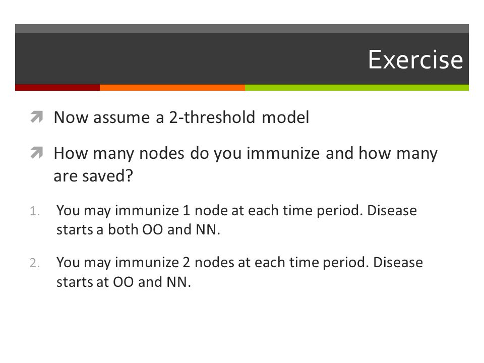 Exercise Now assume a 2-threshold model