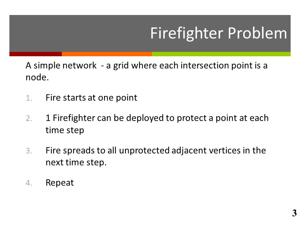 Firefighter Problem A simple network - a grid where each intersection point is a node. Fire starts at one point.
