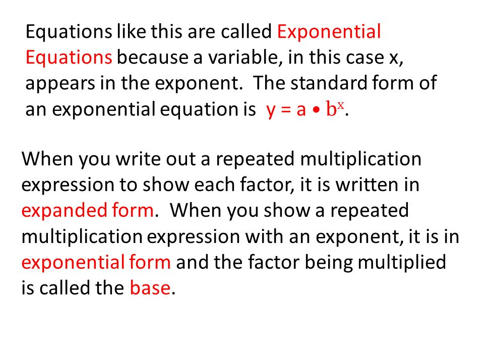Lesson 6.2 Exponential Equations - ppt download