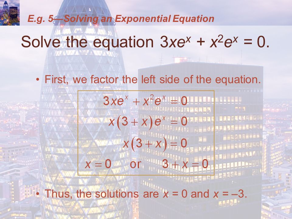 how to solve ln and e equations
