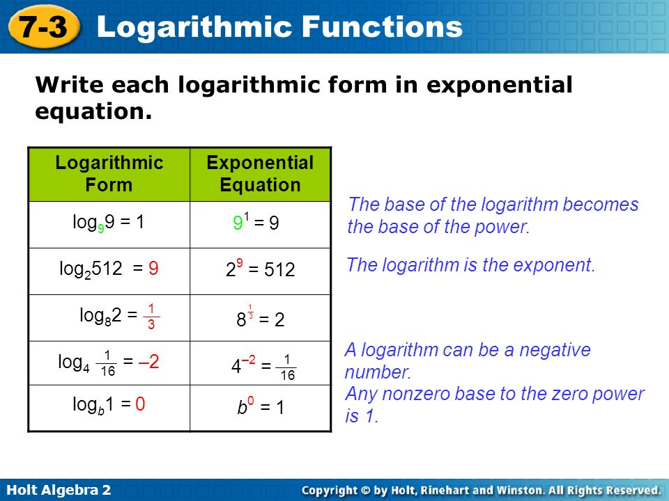 Objectives Write equivalent forms for exponential and logarithmic ...