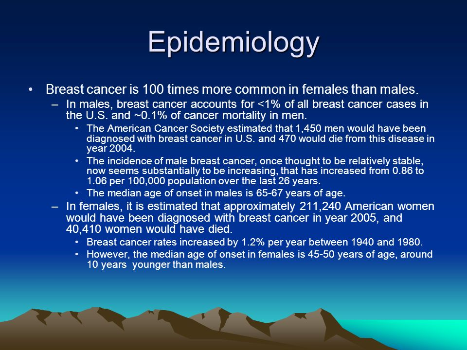 Epidemiology Breast cancer is 100 times more common in females than males.