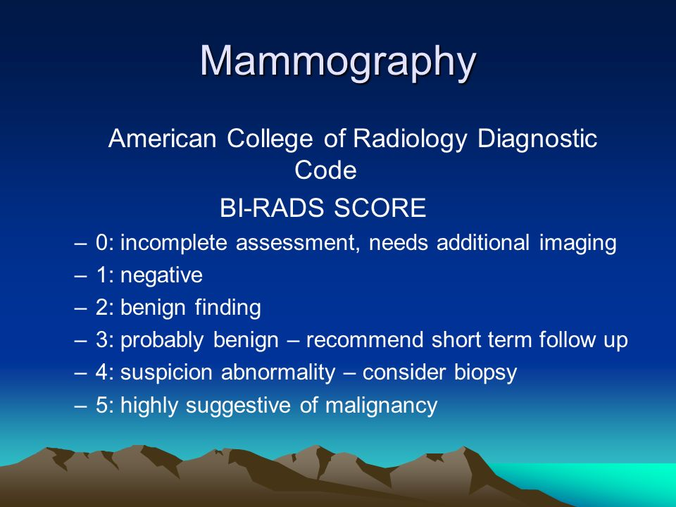 Mammography American College of Radiology Diagnostic Code