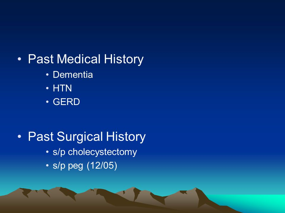 Past Medical History Past Surgical History Dementia HTN GERD