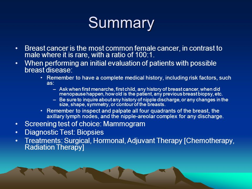 Summary Breast cancer is the most common female cancer, in contrast to male where it is rare, with a ratio of 100:1.