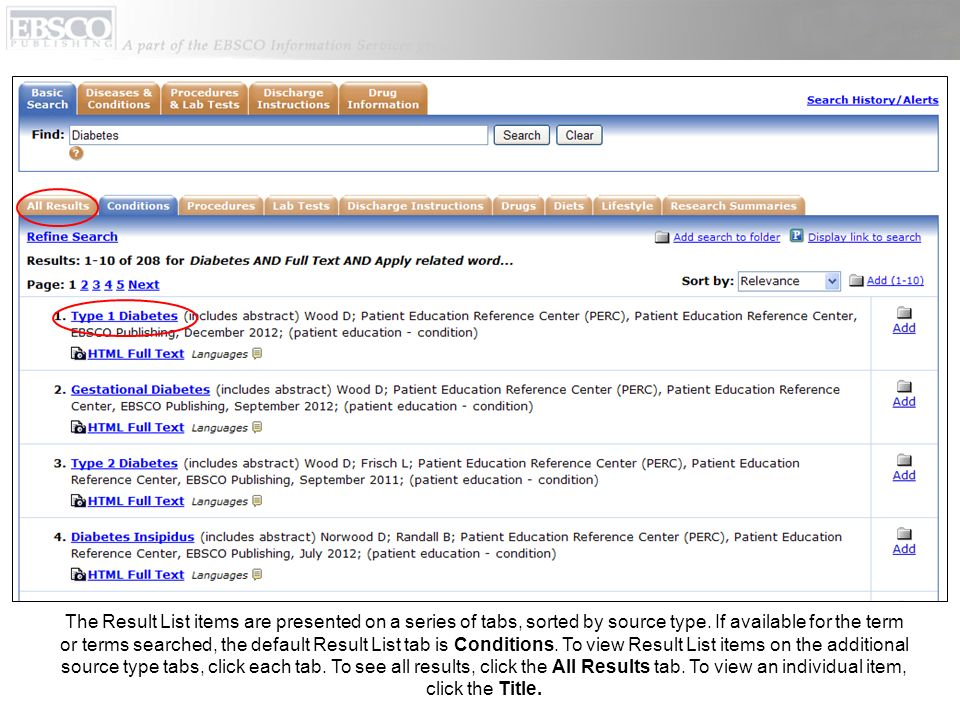 The Result List items are presented on a series of tabs, sorted by source type.