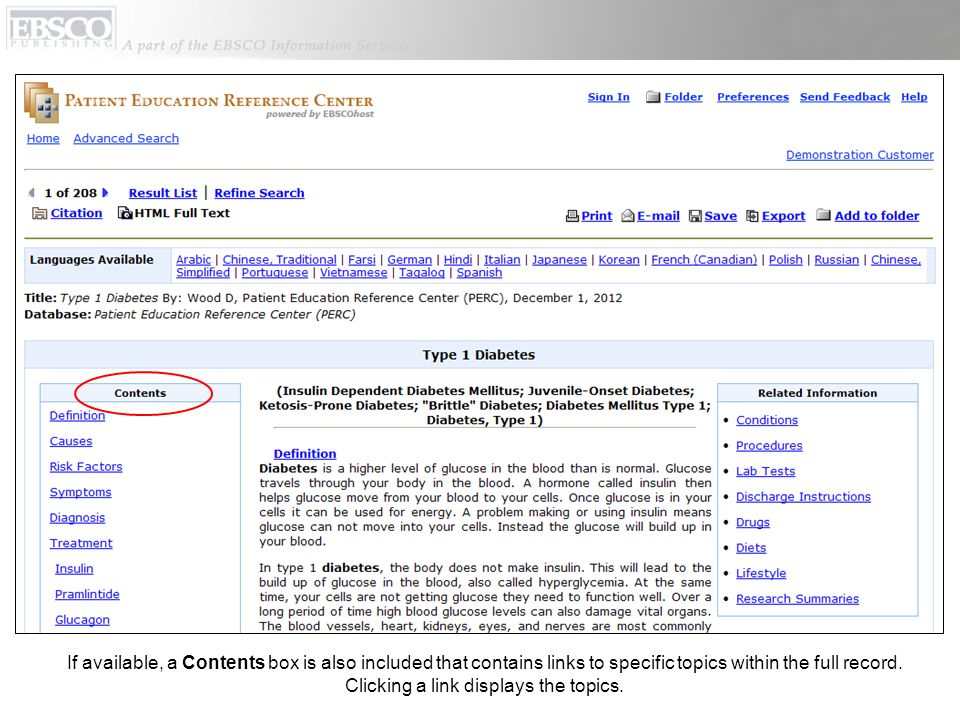 If available, a Contents box is also included that contains links to specific topics within the full record.
