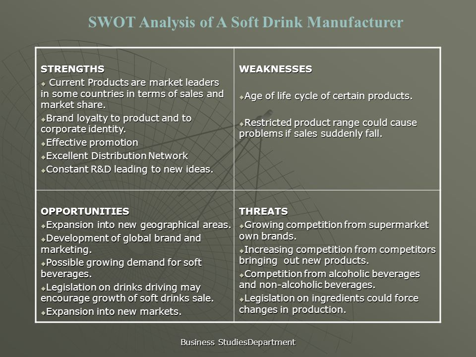 market analyses of soft drink essay Soft drink industry five forces analysis: soft drink industry is very profitable, more so for the concentrate producers than the bottler's this is surprising considering the fact that product sold is a commodity which can even be produced easily.